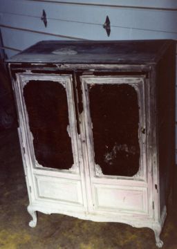 Fire damaged wardrobe