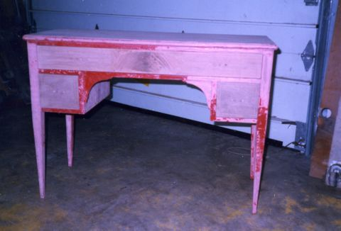 Painted mahogany writing desk