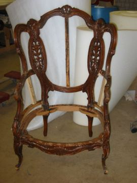 Upholstered chair frame ready for upholstering and refinishing