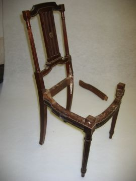 Broken mahogany side chair